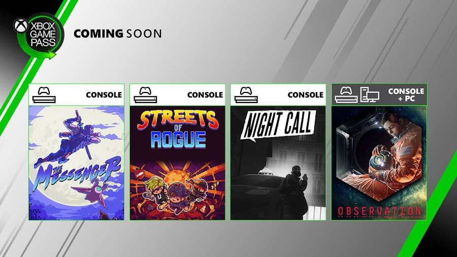 xbox game pass night call observation streets of rogue the messenger xb1 2020