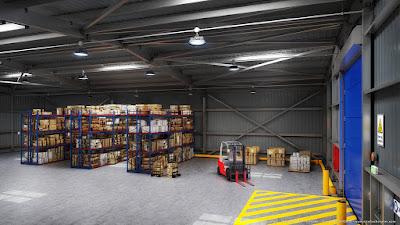 Perspective 3d entrepôt stockage