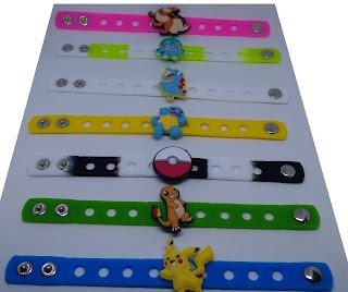 bracciali silicone 3D personalizzati a tema personaggi pokemon go pikachu gadgets regalini fine festa di compleanno bambini
