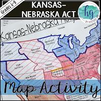 Map illustration of the Kansas Nebraska Act
