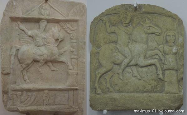 Изображение всадника справа происходит из болгарского села с характерным названием Пирне, родственном имени славянского Перуна.