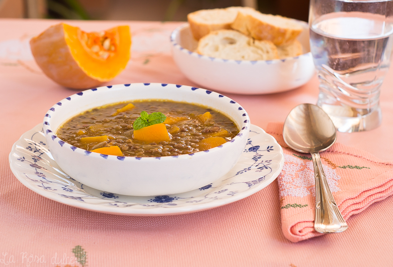 Lentejas con calabaza | receta vegetariana | la Rosa dulce