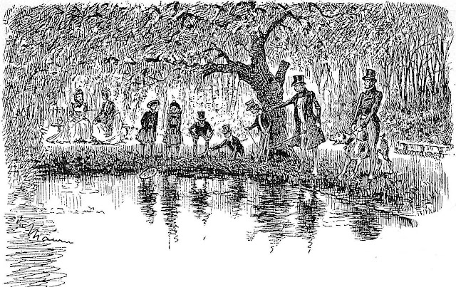 George Dumaurier 1896, a drawing of people fishing something from a pond