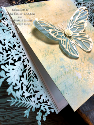 Sizzix Olivia Rose Foliage Wrap Tim Holtz Scribbly Butterfly Wrapped Card for The Funkie Junkie Boutique by Sara Emily Barker 7