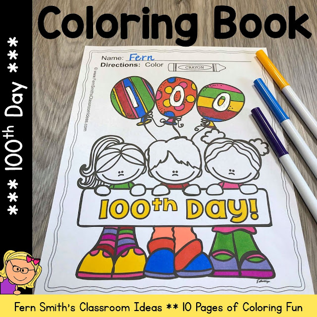 100th Day of School Coloring Pages Dollar Deal!  Your Students will ADORE these Coloring Book Pages for the 100th Day! Add it to your plans to compliment any 100th Day Unit! 10 Coloring Pages For Some 100th Day Fun!  Fern Smith's Classroom Ideas