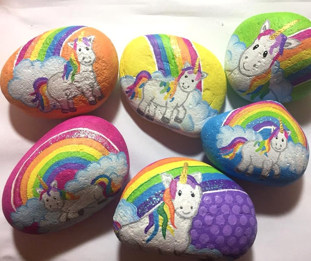 Collection of unicorns on painted rocks