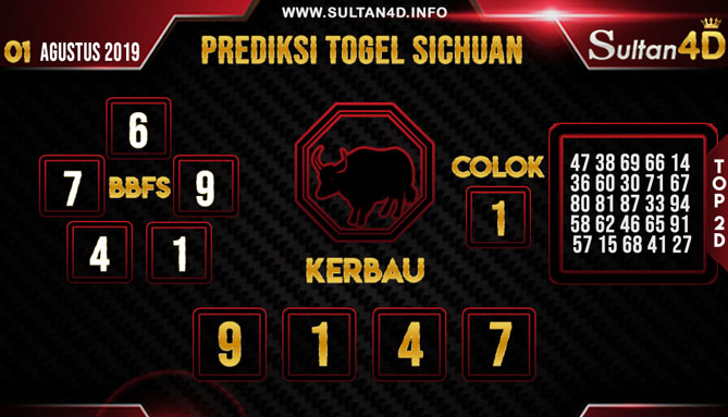 PREDIKSI TOGEL SICHUAN SULTAN4D 01 AGUSTUS 2019