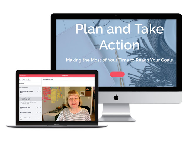 Image of desktop with Plan and Take Action, Image of laptop with view of inside course