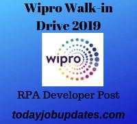 Wipro Walk-in Drive 2019 Apply Online for RPA Developer Post