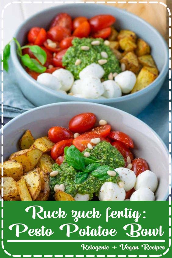 Minuten bereitest du diese leckere Pesto Bowl mit ger Ruck zuck fertig: Pesto Potatoe Bowl
