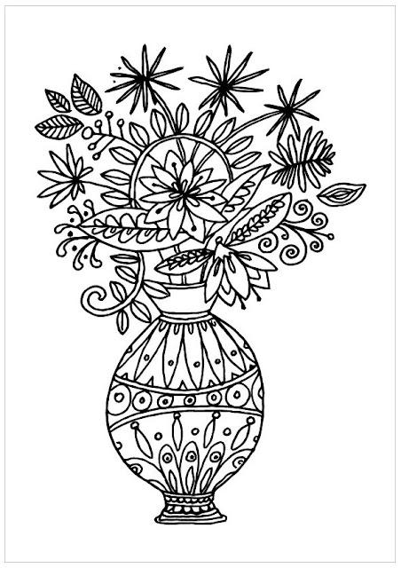 coloriage vase rempli de fleurs