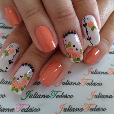 unhas decoradas laranja 9