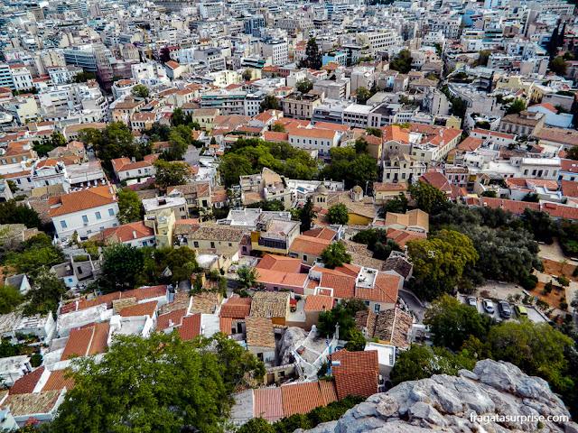 Atenas: os bairros de Pláka e Monastiráki vistos da encosta da Acrópole