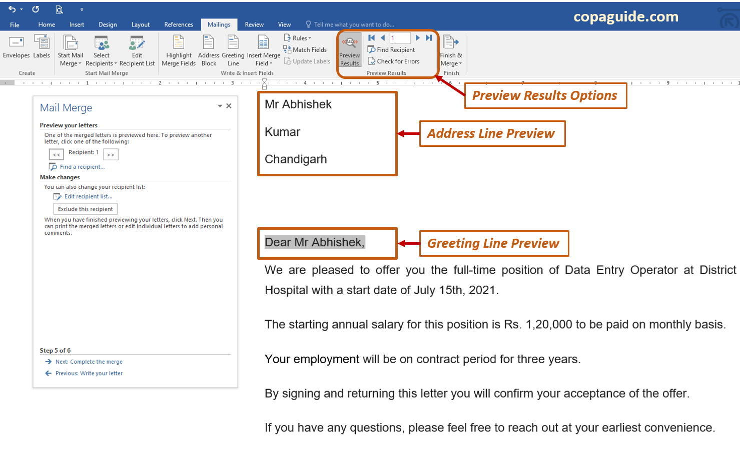 Mail Merge Wizard Preview your letters