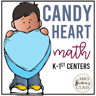 Valentine's Day Math activities using conversation hearts for sorting, graphing, counting, 10 frames, and more in Kindergarten and First Grade