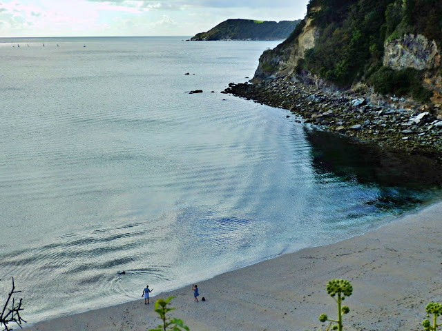 Looking down from the cliffs on Duporth Beach, Cornwall