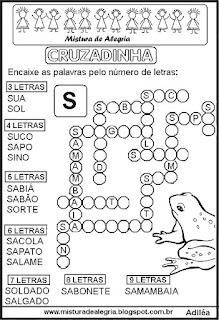 Cruzadinha com a letra S