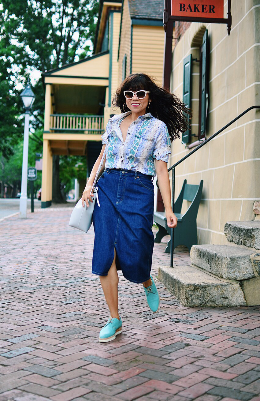 Denim skirt and brogues
