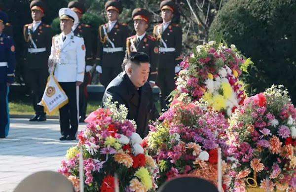 Kim Jong Un visites the cemetery of the martyrs of the Chinese People's Volunteers (CPV) in Hoechang County
