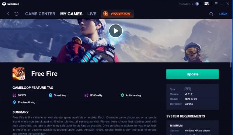 cara update free fire gameloop ke versi