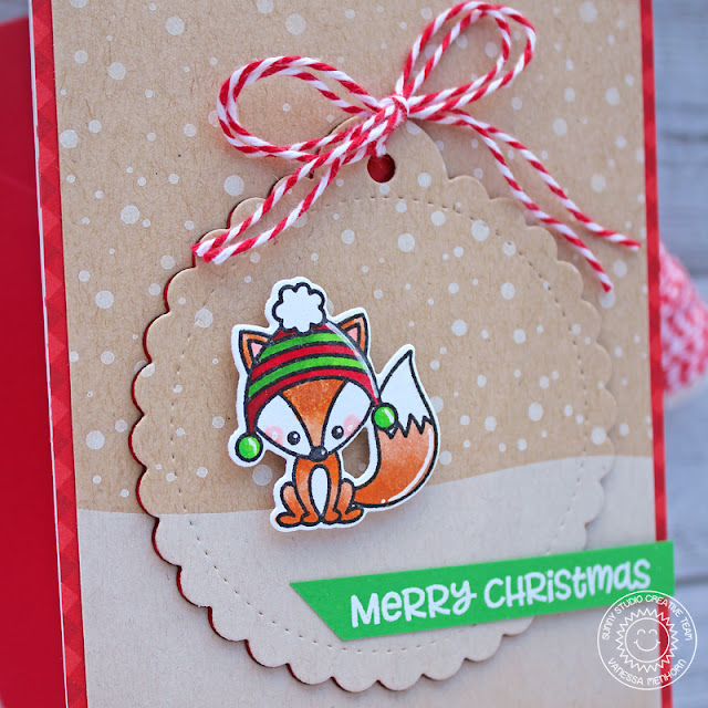Sunny Studio Stamps: Scalloped Tag Dies Jolly Gingerbread Foxy Christmas Frosty Flurries Holiday Card by Vanessa Menhorn