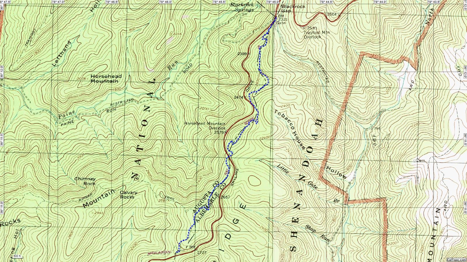American Travel Journal Riprap Trailhead To Blackrock Gap - Appalachian trail topo map