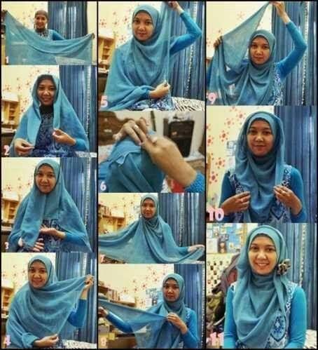 Cara memakai jilbab segi empat menutupi dada
