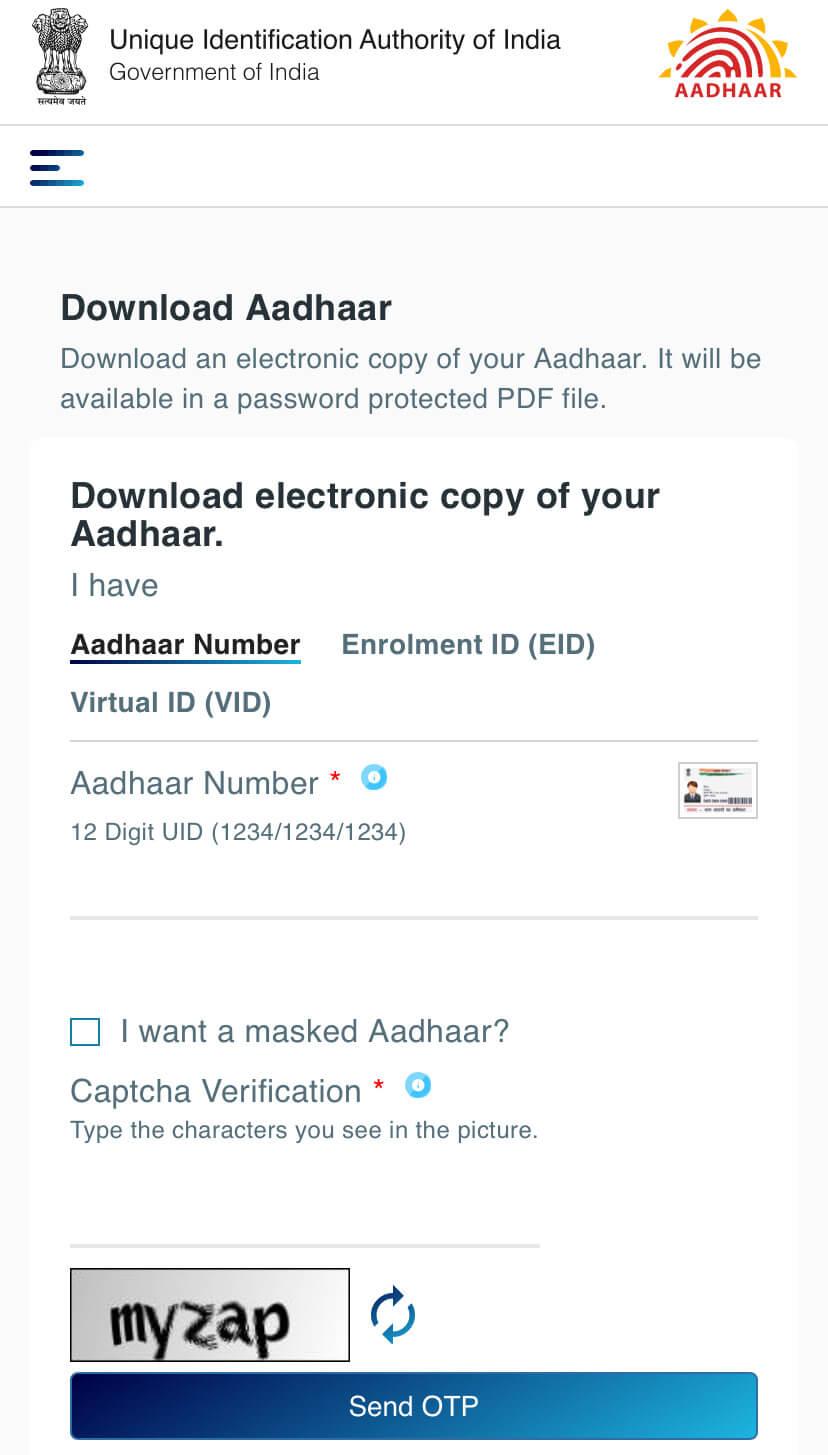Enter aadhaar card number