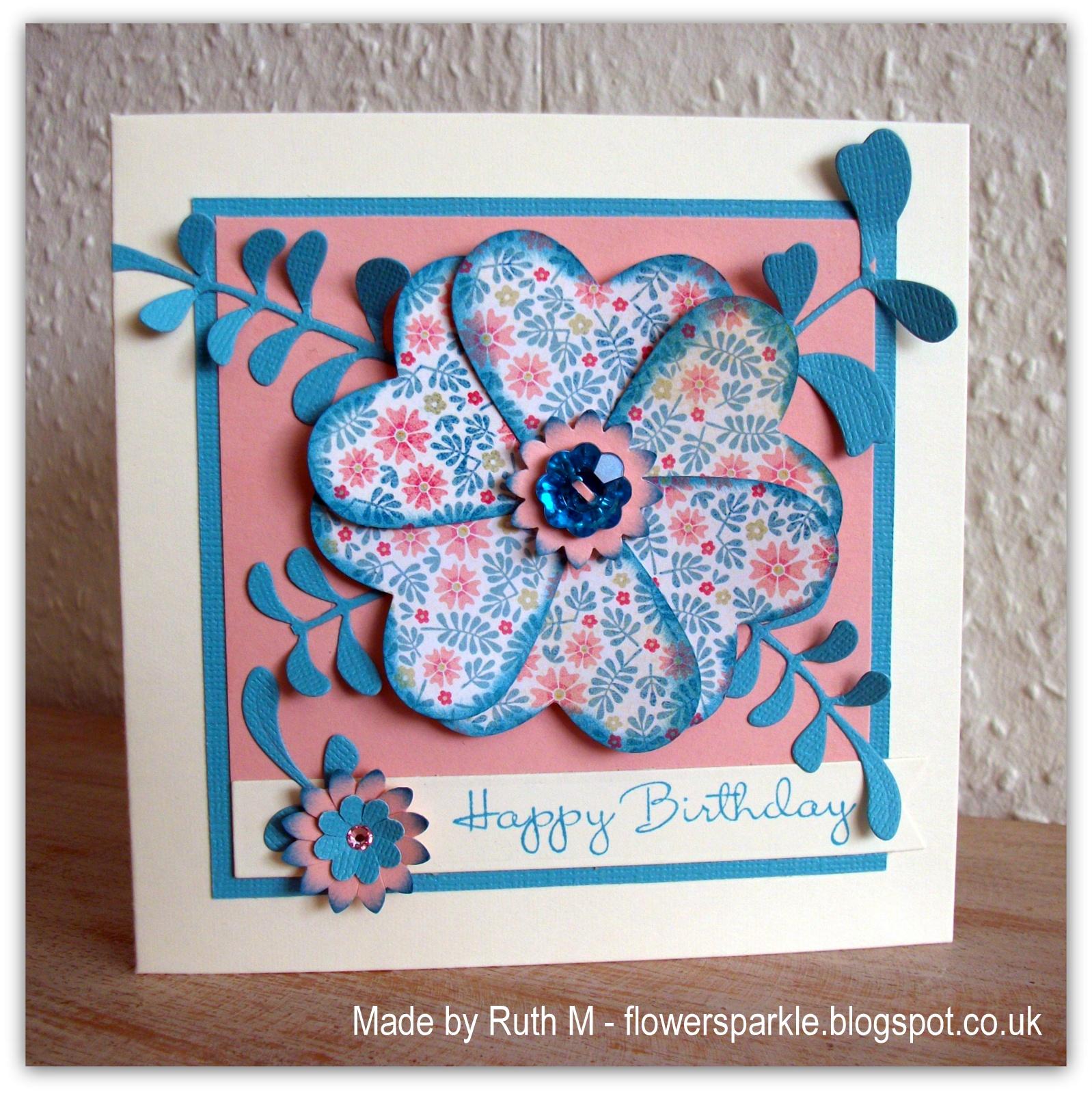 Flower Sparkle Heart Flower Ferns Happy Birthday Card