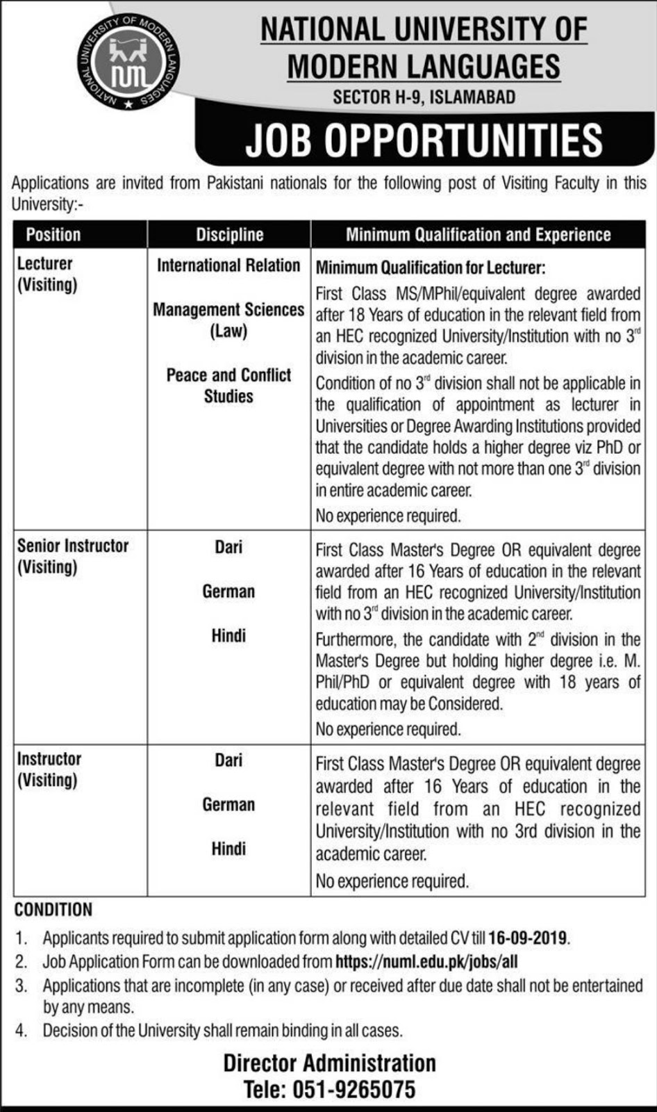 Jobs Opportunity in National University of Modern Languages 2019