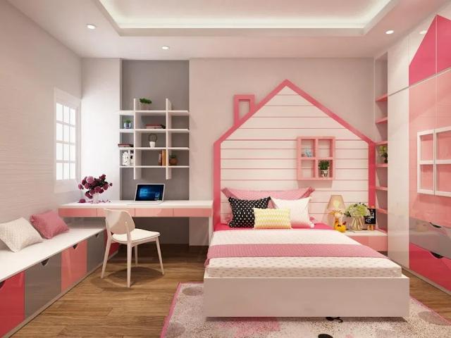 Mẫu phòng ngủ dành cho cô nàng cuồng màu hồng.