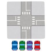 上から見た交差点と自動車のイラスト(信号なし)