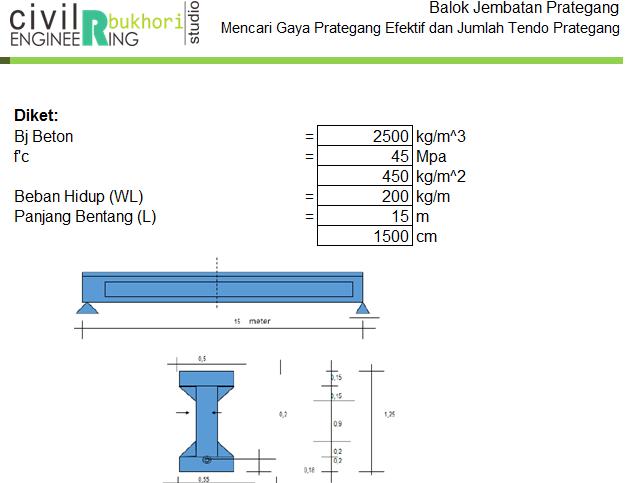 Mencari Gaya Prategang Efektif Dan Jumlah Tendon Dari Balok Jembatan Hitungan Teknik Sipil