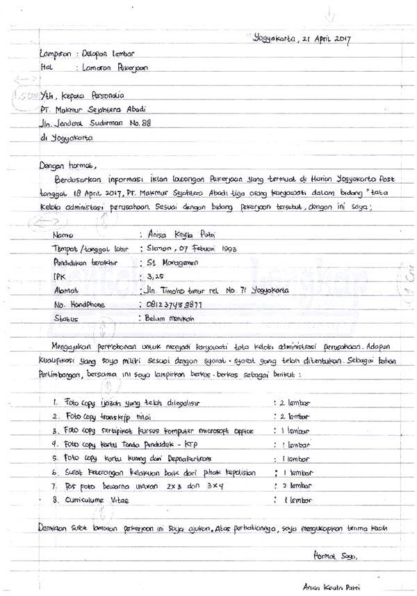 18 Contoh Surat Lamaran Pekerjaan Dengan Tulisan Tangan Tegak Bersambung