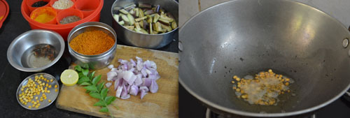 ingredients for vangi bhath-brinjal rice Karnataka style