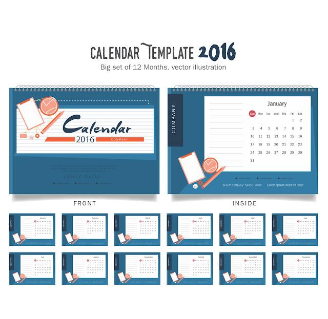 Desain Keren Kalender Meja 2016 dengan Warna Biru - Free Vector