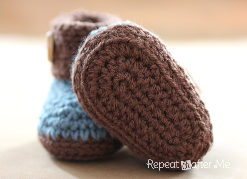 Crocheting Booties : Crochet Cuffed Baby Booties Pattern - Repeat Crafter Me