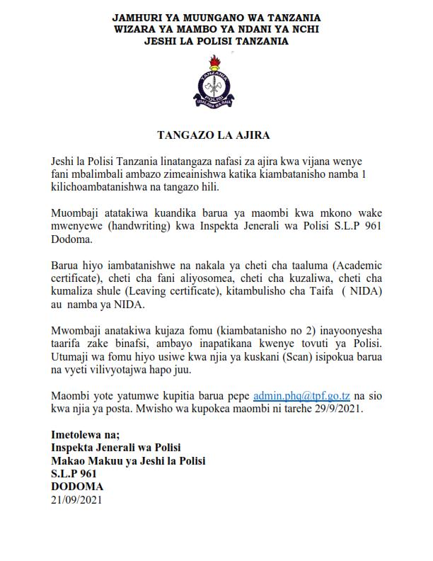 Job Vacancies at Tanzania Police Force - September 2021