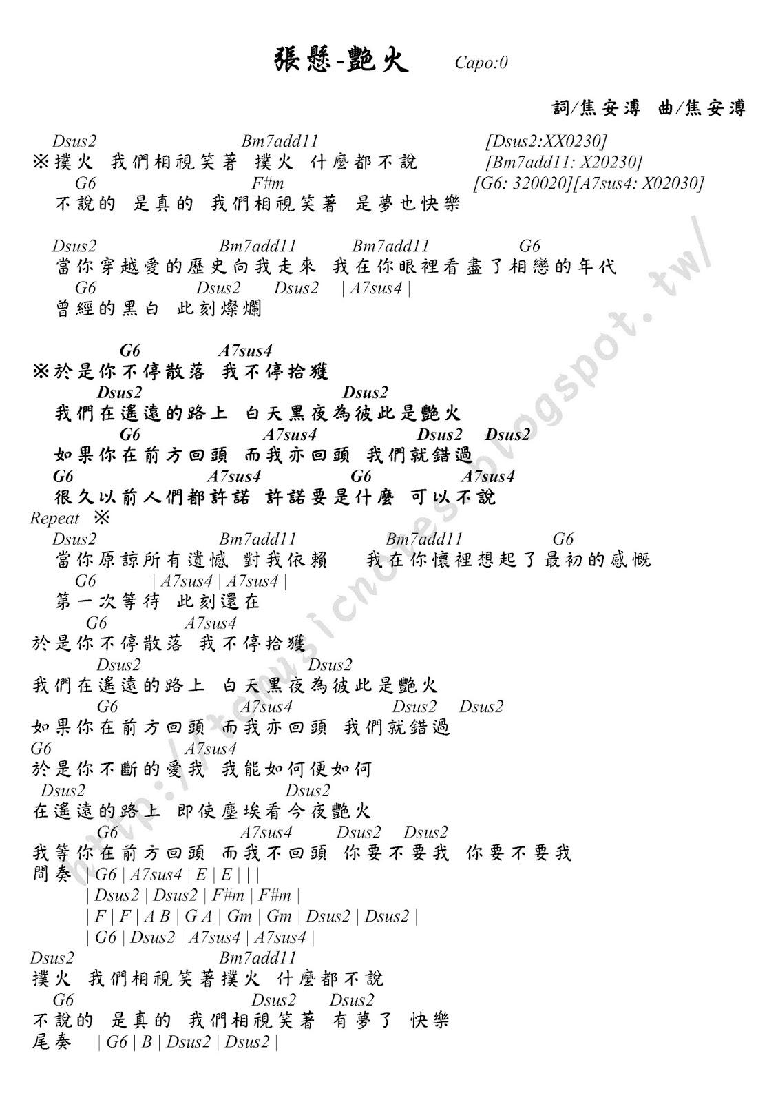 亭竹的音樂工作室: 張懸-艷火 吉他譜
