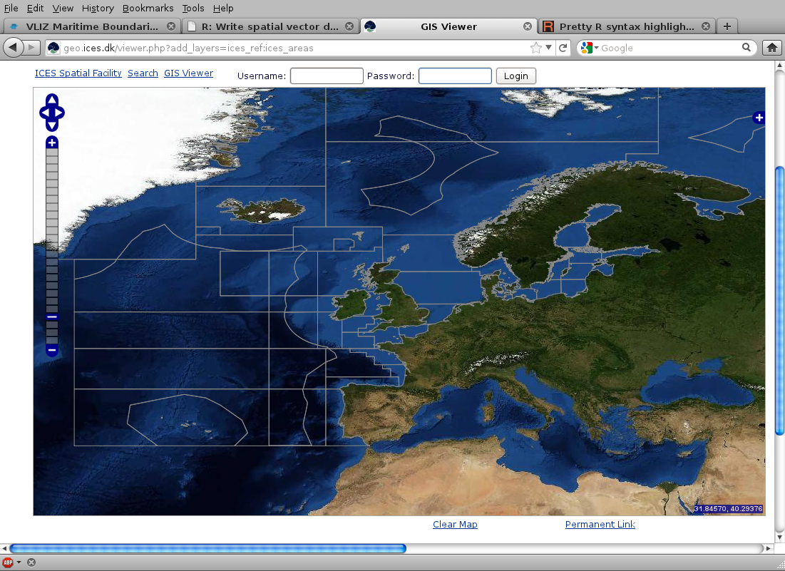 ICES and NAFO statistical areas viewed in Google Earth | R