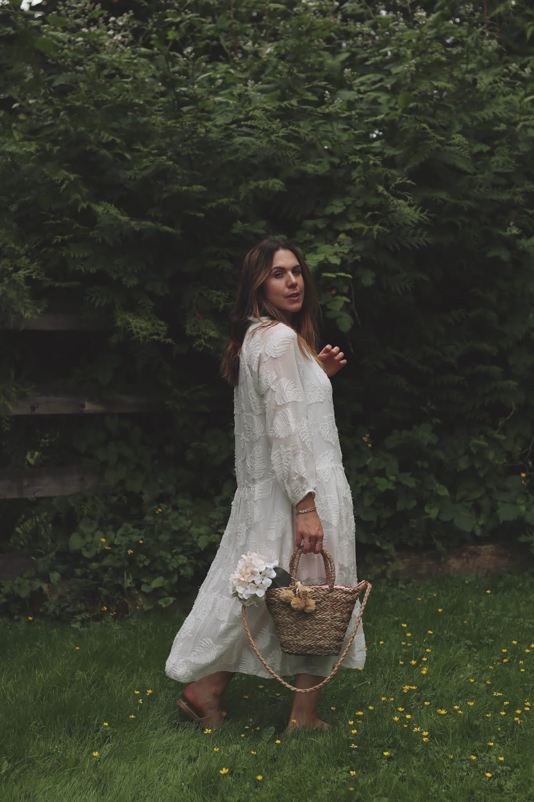 white maxi dress summer outfit aritzia poppy peonies straw bag