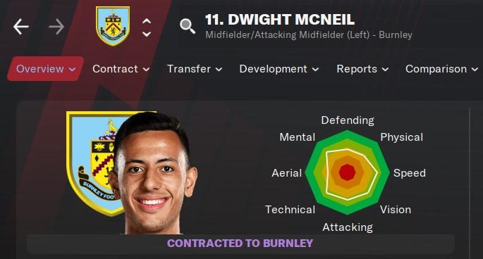 Dwight McNeil Football Manager 2021 FM21 FM2021