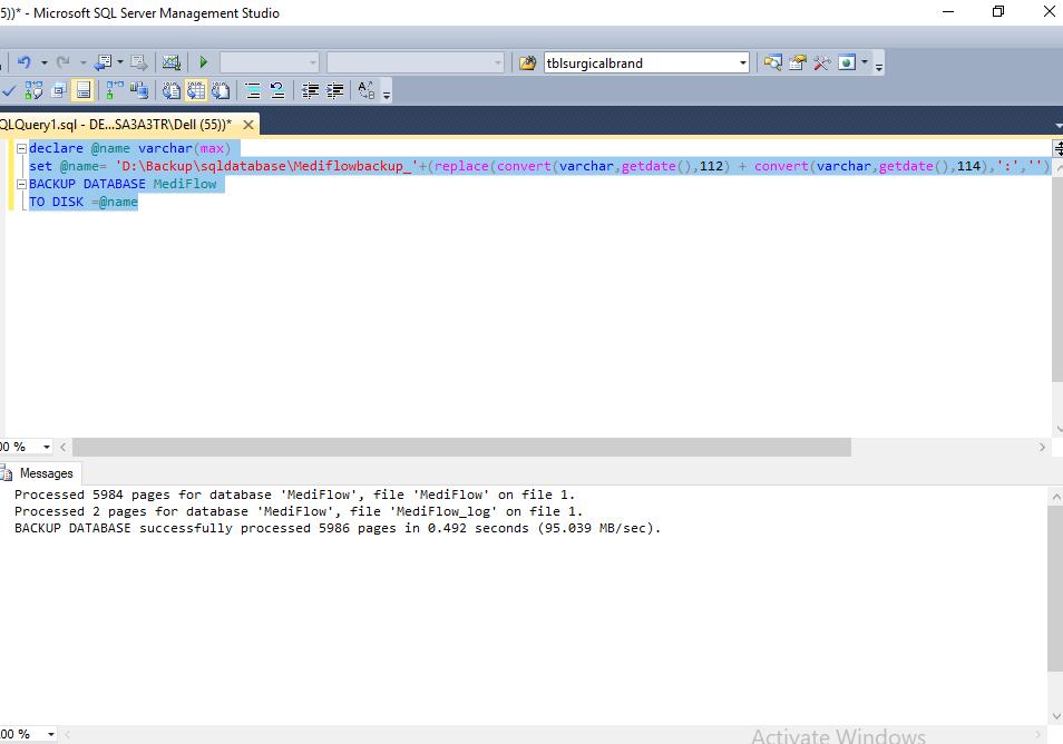 Set Up SQL Job for backup database