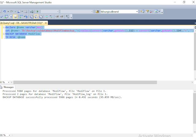 Setup SQL Job for backup database