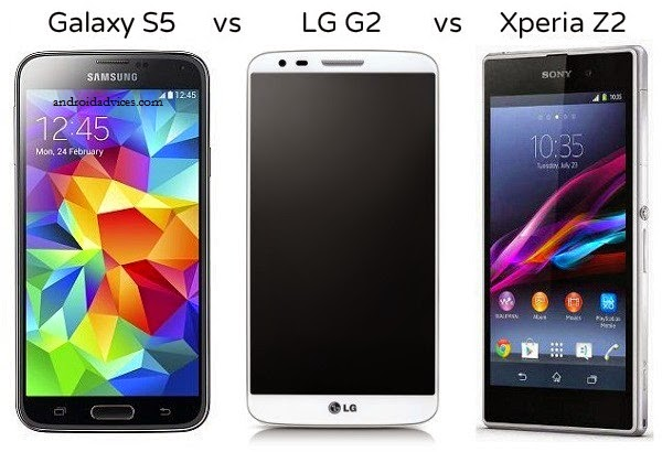 Samsung GALAXY S5 vs Sony Xperia Z2 vs LG G2