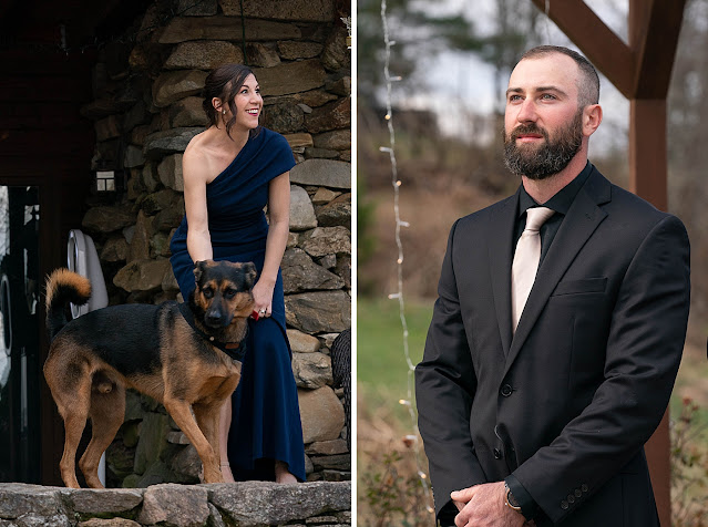 Portrait of Family dog and groom at ceremony Magnolia Farm Asheville Wedding Photography captured by Houghton Photography
