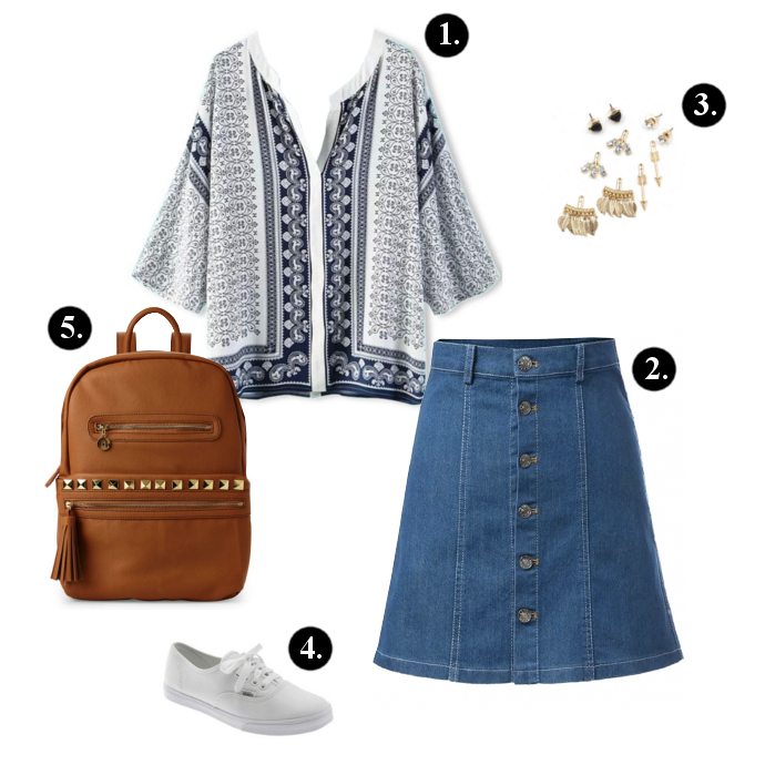 Back to school outfits, Back to school outfit ideas, Oasap Blouse, Oasap Skirt,  GoJane Earrings, Nila Anthony Backpack, Vans Sneakers, backpacks, sneakers