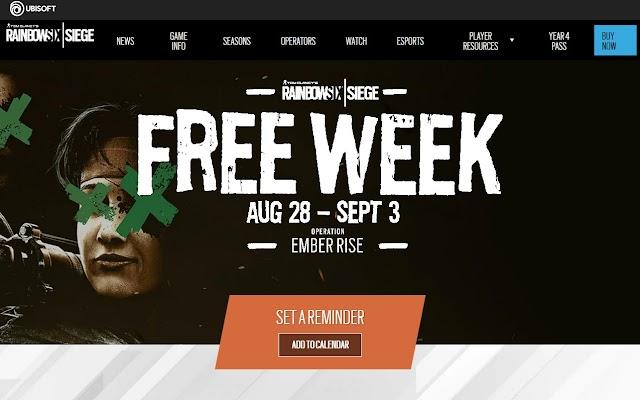 Rainbow Six Siege a whole week for free