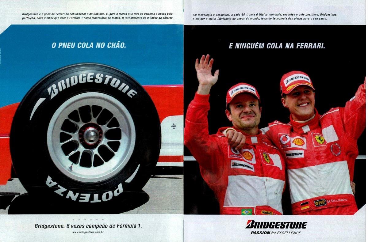 Anúncio dos pneus Bridgestone com Rubens Barrichello e Michael Schumacher em 2004