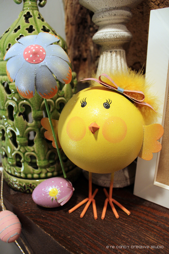 easter chick, flowers, spring decor, easter eggs, mantel easter decor